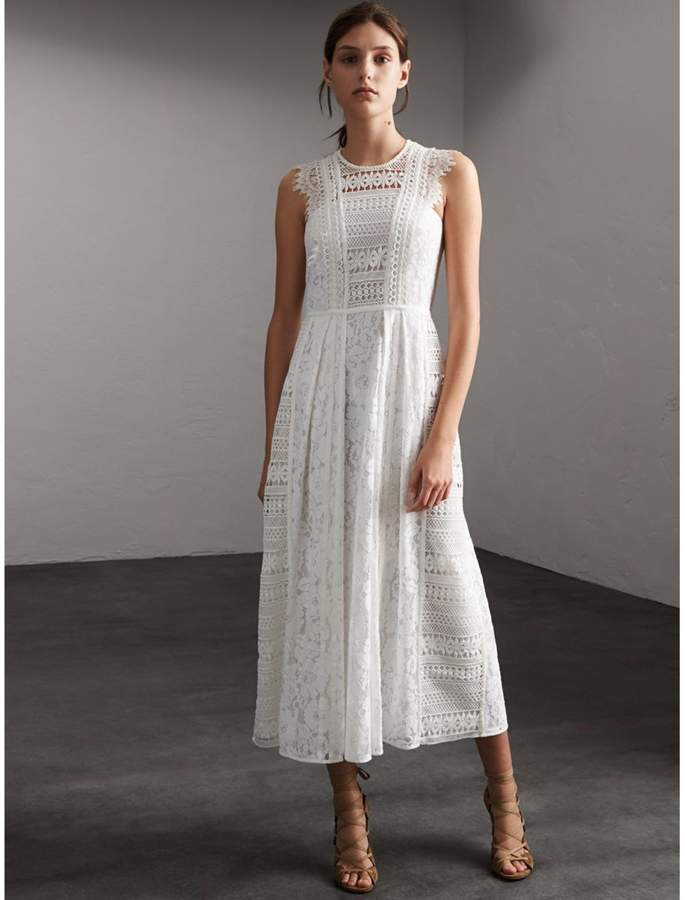 Burberry Sleeveless Macramé Lace Dress