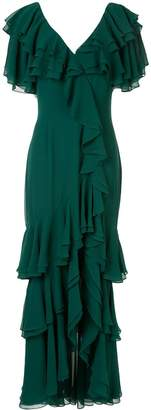 Badgley Mischka ruffled long dress