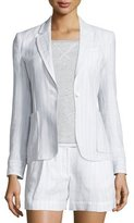 ATM Anthony Thomas Melillo Striped Linen-Blend Schoolboy Blazer, White