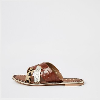River Island Ravel brown leather cross over sandal
