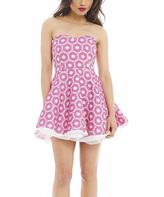 AX Paris Pink & White Textured Skater Dress - Women