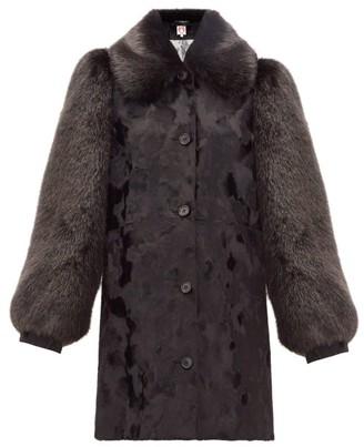 Shrimps Zane Balloon-sleeve Faux-fur Coat - Womens - Black