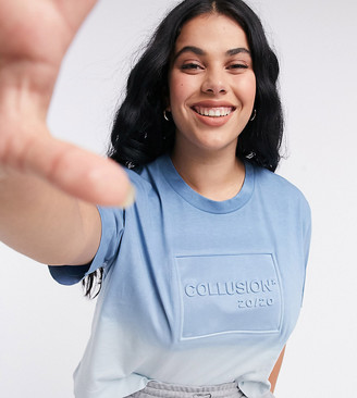 Collusion Plus Exclusive embossed ombre crop t-shirt in blue
