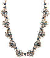 Marchesa Gold-Tone Blue Crystal, Bead & Imitation Pearl Collar Necklace