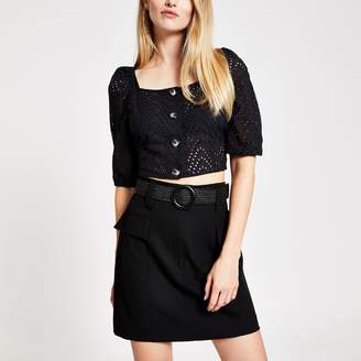 River Island Womens Black belted mini skirt