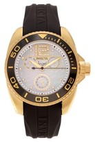 Invicta Women's 21704 Angel Goldplated CZ Silicone Strap Watch - Black/Gold