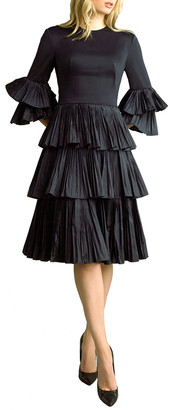 Basix II Pleated Tiered Fit-and-Flare Dress