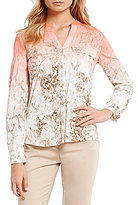 Calvin Klein Ombre Snakeskin Printed Crepe de Chine Roll-Tab Sleeve Blouse