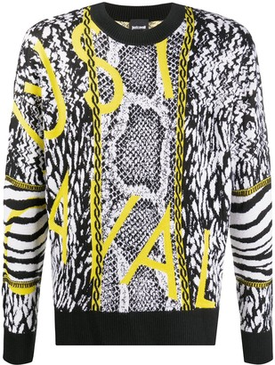 Just Cavalli Pattern-Mix Crew-Neck Jumper