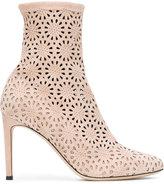 Giuseppe Zanotti Design Petra laser cut booties - women - Cotton/Leather/Suede/Spandex/Elastane - 36.5