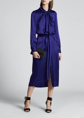 Tom Ford Satin Bow-Neck Midi Dress