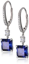 Crislu Blue Cubic Zirconia Cushion Silver Drop Earrings