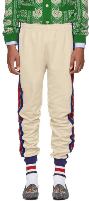 Gucci Beige and Blue Striped Lounge Pants