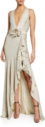 Badgley Mischka Sequin V-Neck Sleeveless Side-Ruffle Gown