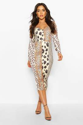 boohoo Mixed Animal Print Square Neck Bodycon Midi Dress