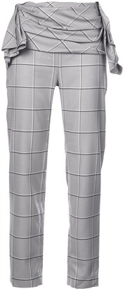CARMEN MARCH Draped Waist Check Trousers