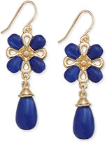 Charter Club Gold-Tone Floral Stone Drop Earrings, Only at Macy's