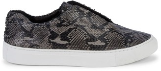 J/Slides Snakeskin-Print Leather Sneakers