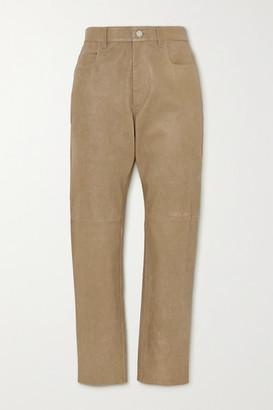 Etoile Isabel Marant Tea Leather Straight-leg Pants - Beige