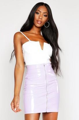 boohoo PU Zip Back Skirt
