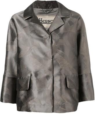 Herno Metallic-Look Floral Print Jacket