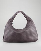 Bottega Veneta Woven Large Leather Hobo Bag, Plum Gray
