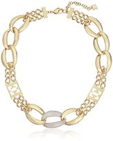 Escada Gold-Plated and Cubic Zirconia Large Link Necklace, 18""