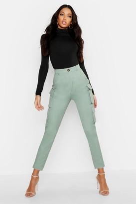 boohoo High Waist Skinny Cargo Pocket Trouser