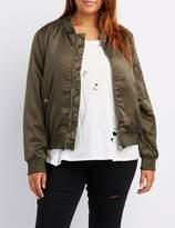 Charlotte Russe Plus Size Satin Bomber Jacket