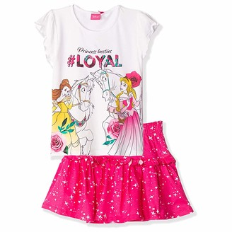 Disney Official Princess Characters Girl's Short Sleeve Outfit Summer Clothes Set of T-Shirt and Skirt 100% Cotton - White 5