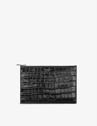Aspinal of London Essential large crocodile-embossed leather pouch