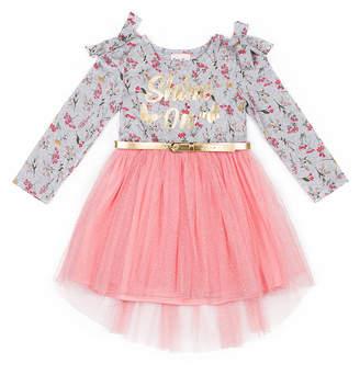 Little Lass Girls' Casual Dresses PINK - Pink Floral 'Shine On' Tie-Shoulder Belted A-Line Dress - Toddler