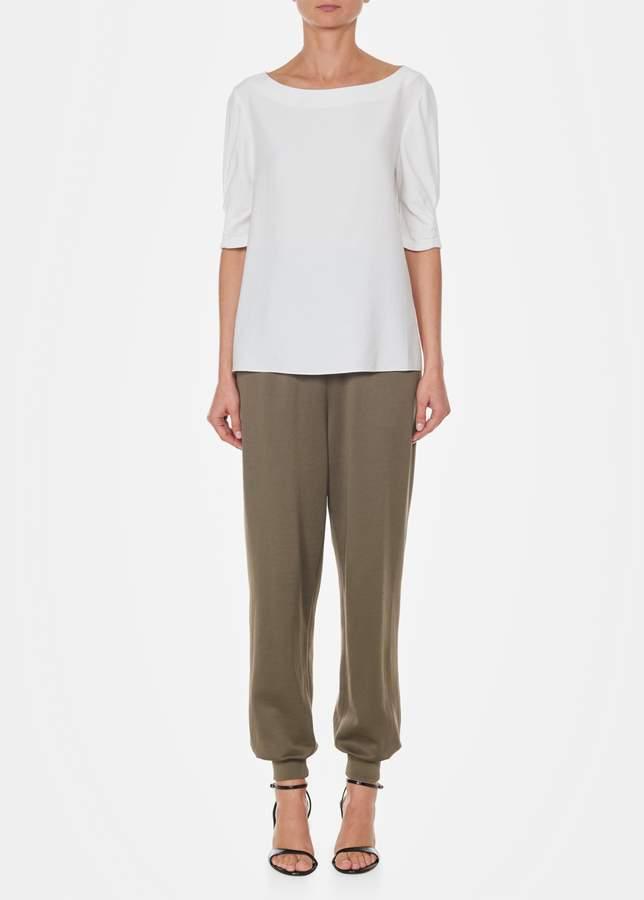 Tibi Short Sleeve Shirred Top
