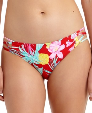 California Waves Juniors' Tropic Printed Strappy-Side Hipster Bikini Bottoms, Created for Macy's Women's Swimsuit