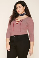 Forever 21 Plus Size Stripe Lace-Up Top