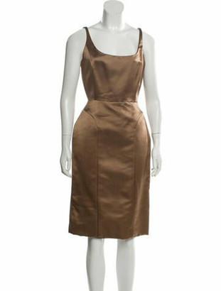 Oscar de la Renta Silk Knee-Length Dress Gold