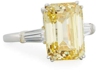 FANTASIA Emerald-Cut Yellow CZ Ring with Tapered Baguettes
