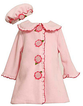 Bonnie Baby Newborn Rose-Appliqued Fleece Coat & Hat