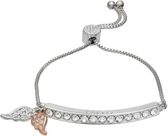 """Brilliance+ Brilliance Fine Silver Plated """"Faith"""" Wing Charms & Bar Bracelet with Swarovski Crystals"""