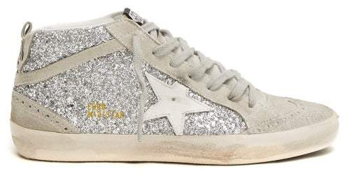 Golden Goose Mid Star Glittered Leather Mid Top Trainers - Womens - White Silver