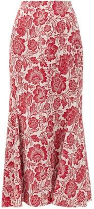 Erdem Ivetta Floral-jacquard Midi Skirt - Red White