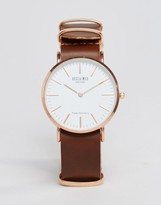 Reclaimed Vintage Leather Watch In Brown