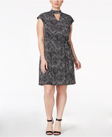 INC International Concepts Plus Size Chevron-Print Shift Dress, Only at Macy's