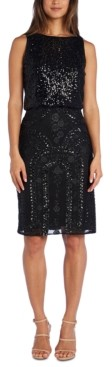 R & M Richards Sequined Blouson Sheath Dress