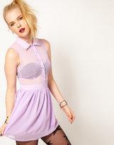 Hearts & Bows Chiffon Collar Tip Dress