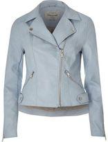 River Island Womens Blue faux leather biker jacket