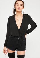 Missguided Black Chain Neck Wrap Bodysuit