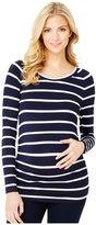 Rosie Pope Maternity Sylvie Maternity T-Shirt - Navy/White Stripe-X-Small