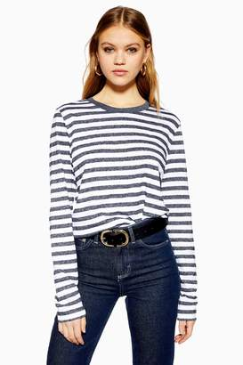Selected Womens **Navy 100% Organic Cotton Stripe Long Sleeve T-Shirt By Navy Blue