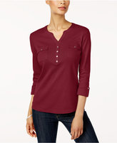 Karen Scott Cotton Split-Neck Top, Created for Macy's